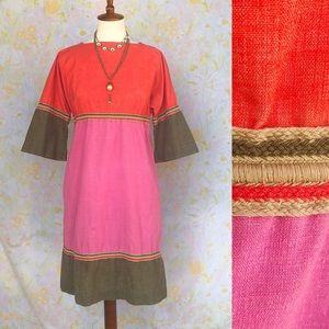 True Vintage💖60s Babydoll Tri Tone Midi Dress!